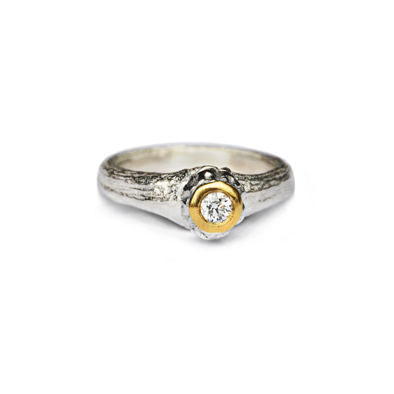 New Beginnings, sterling silver, 24ct gold, 3.5mm white diamond, 2013