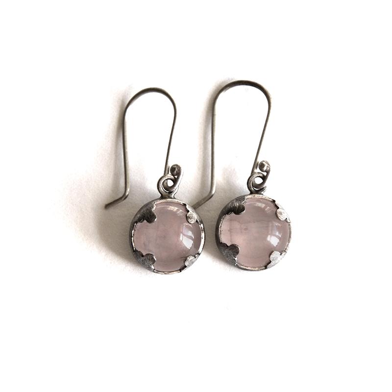 Lover Earrings, rose quartz, sterling silver, 2014