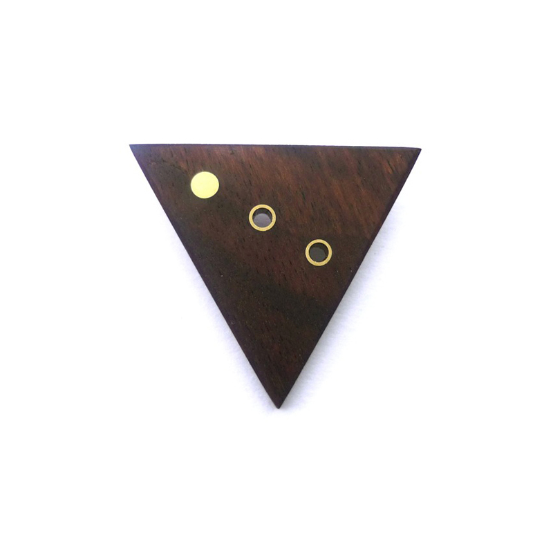 Triangle, brooch, african rosewood, brass, sterling silver, 2009