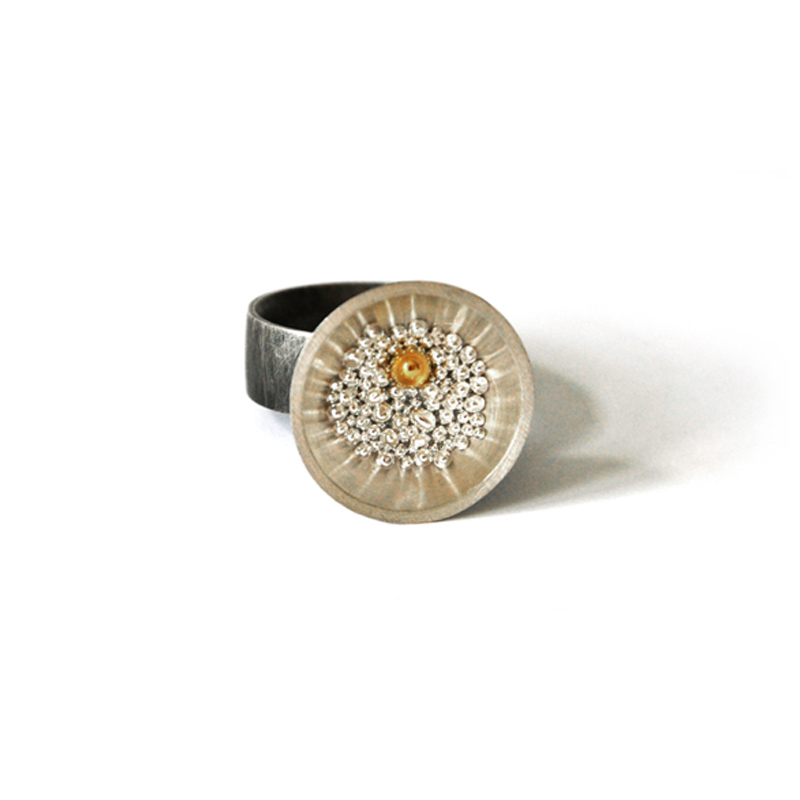 Standing Out in a Crowd, ring, sterling silver, 24ct gold, resin, 2006