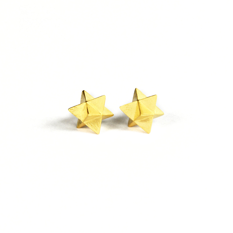 Portal Studs, sterling silver, 24ct gold plate, 2016