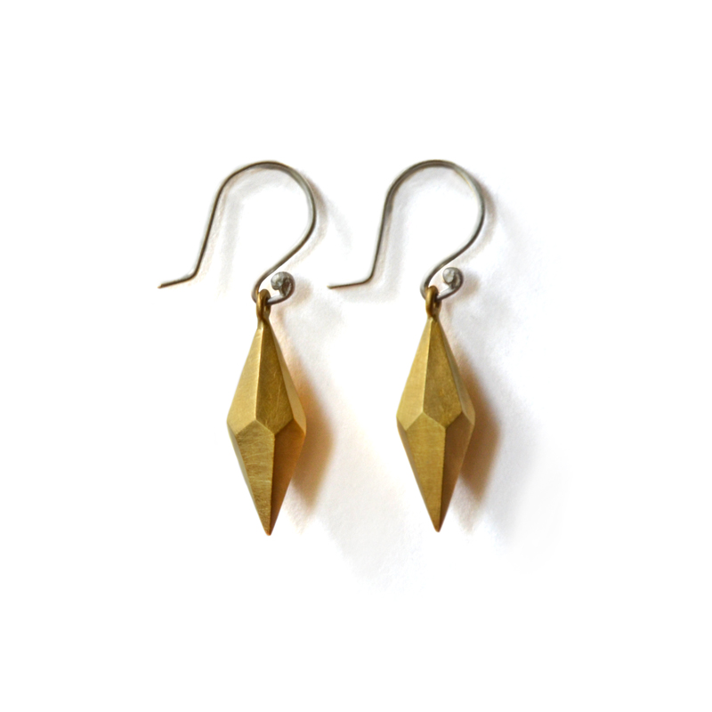Building Block Earrings, sterling silver, 24ct gold plate, 2015