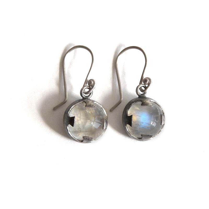 Prophet Earrings, moonstone, sterling silver, 2014