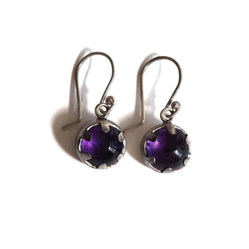 Magician Earrings, amethyst, sterling silver, 2014