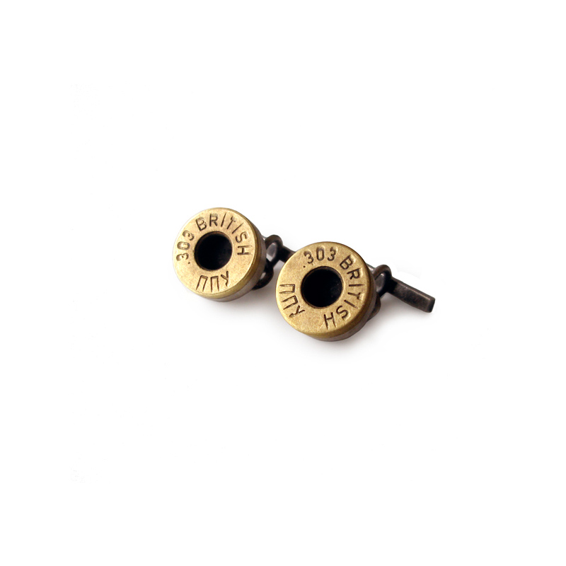 Friendly Fire, cufflinks, oxidised sterling silver, brass bullets, 2007