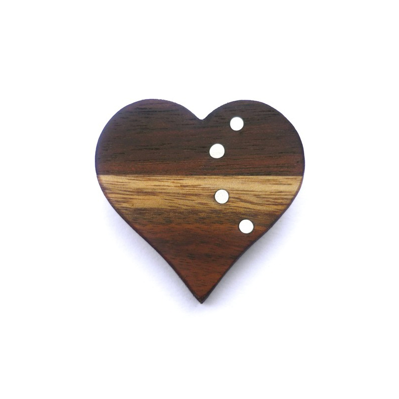 Heart, brooch, african rosewood, sterling silver, 2009