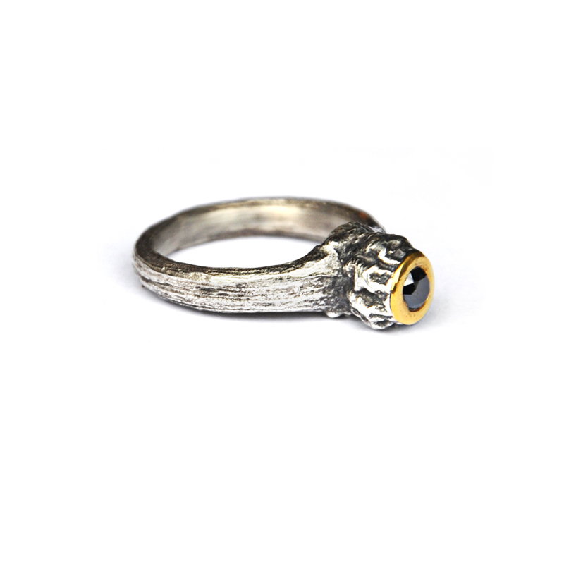 New Potential, sterling silver, 24ct gold, and 3.5mm black diamond, 2013