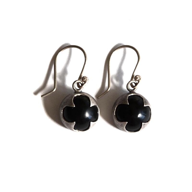Protector Earrings, onyx, sterling silver, 2014