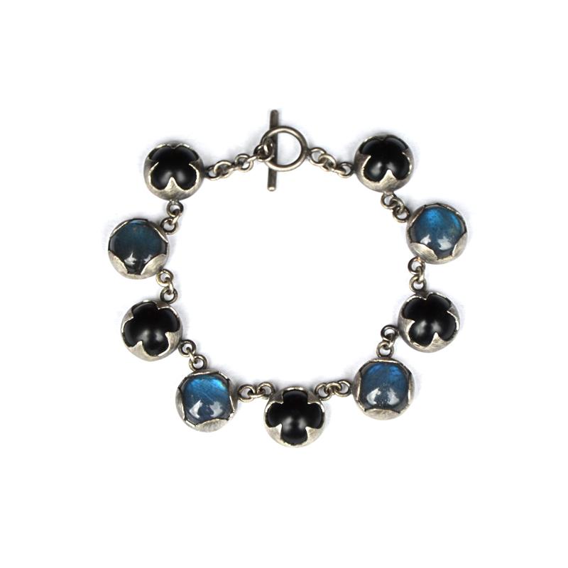 Healer Bracelet, onyx, labradorite, sterling silver, 2015