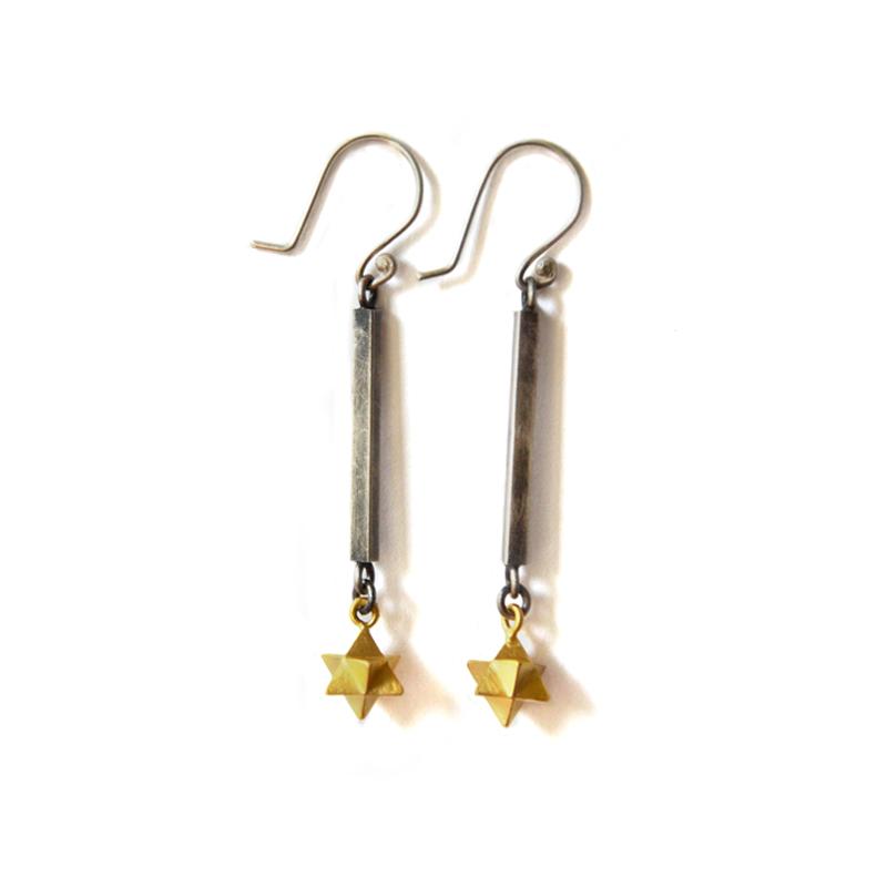 Portal Earrings, sterling silver, 24ct gold plate, 2015