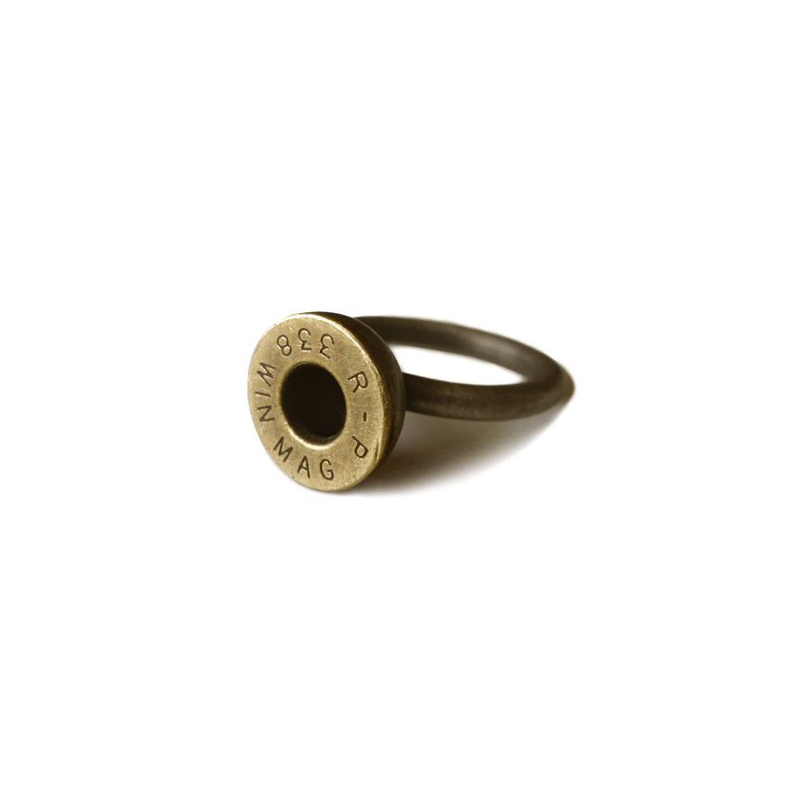 Friendly Fire, ring, oxidised sterling silver, brass bullet, 2007