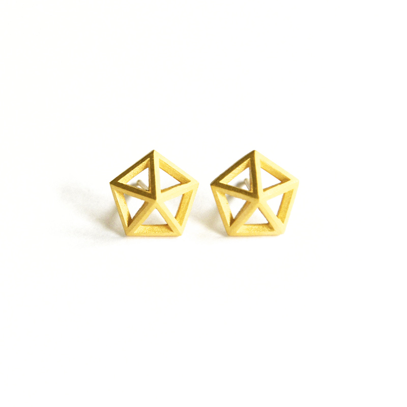 Stellar Studs, sterling silver, 24ct gold plate, 2016