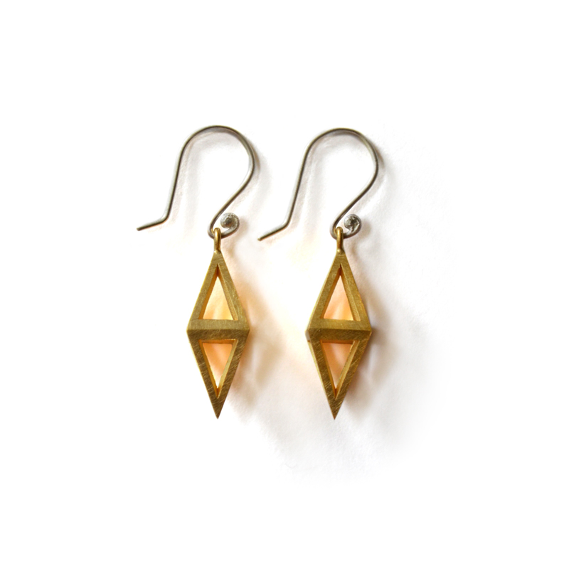Reflection Earrings, sterling silver, 24ct gold plate, 2015