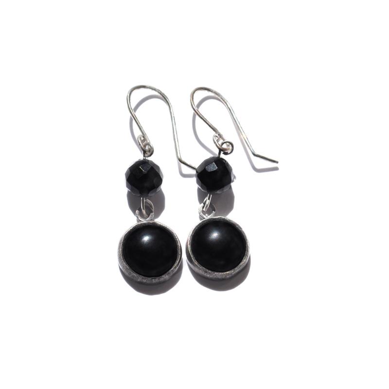Onyx Earrings, onyx, jet, fine silver, sterling silver, 2012