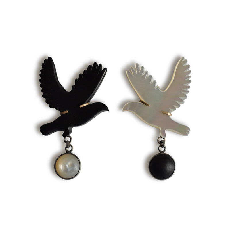 The Dance Between Opposites, brooches, ebony, 9ct gold, mother of pearl, fine silver and sterling silver, 2012
