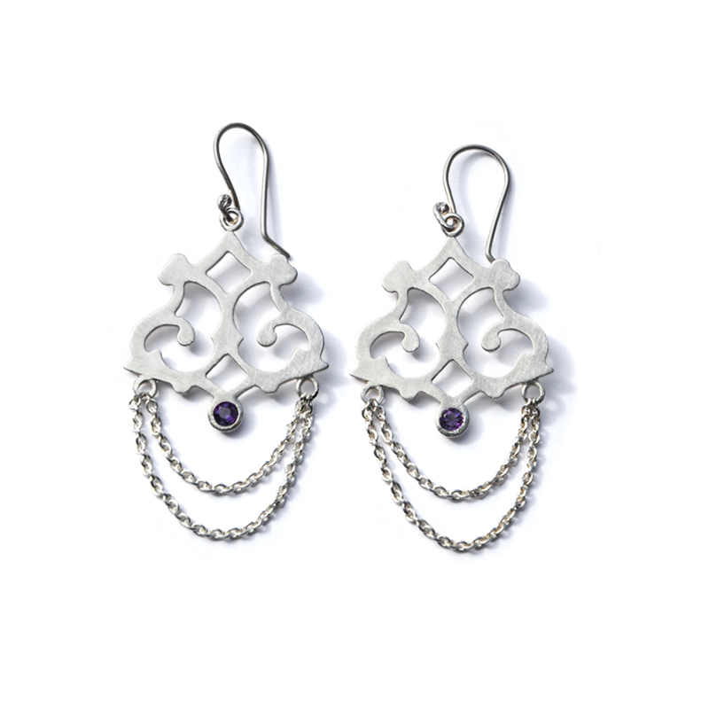 Midnight earrings, amethyst, sterling silver, 2013
