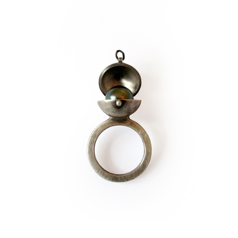 Neptune's Treasure, ring, sterling silver, black pearl, 2006
