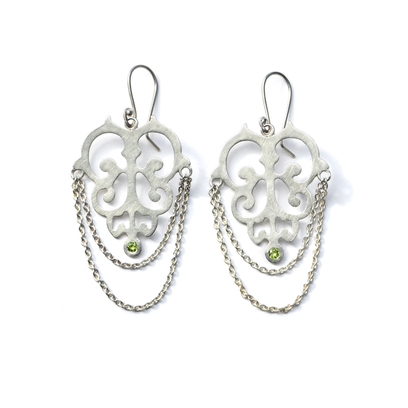 Nightfall Earrings, peridot, sterling silver, 2013