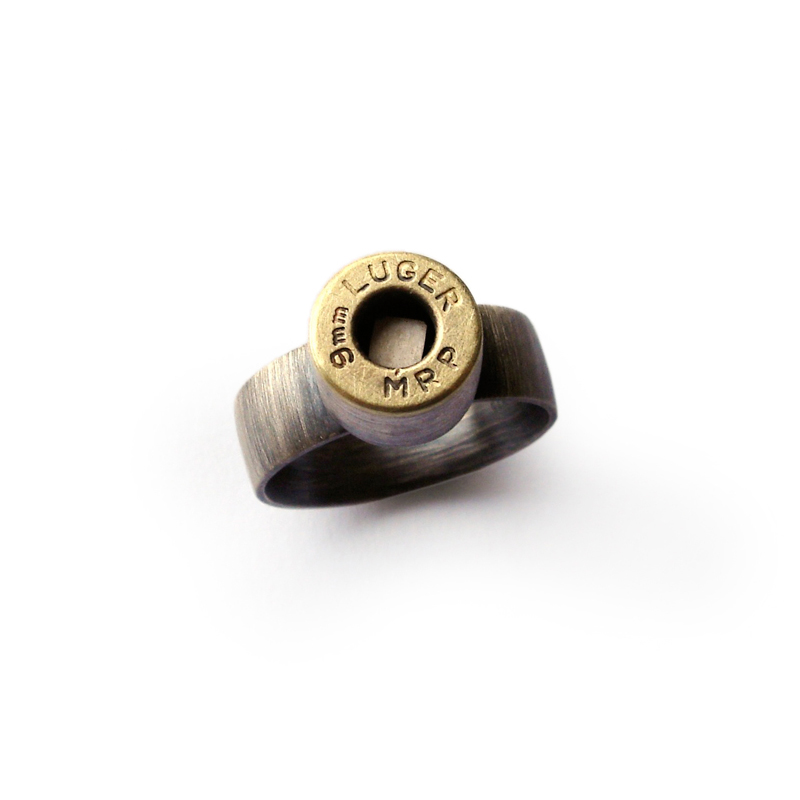 Square Peg in a Round Hole, ring, sterling silver, luger bullet, 2006