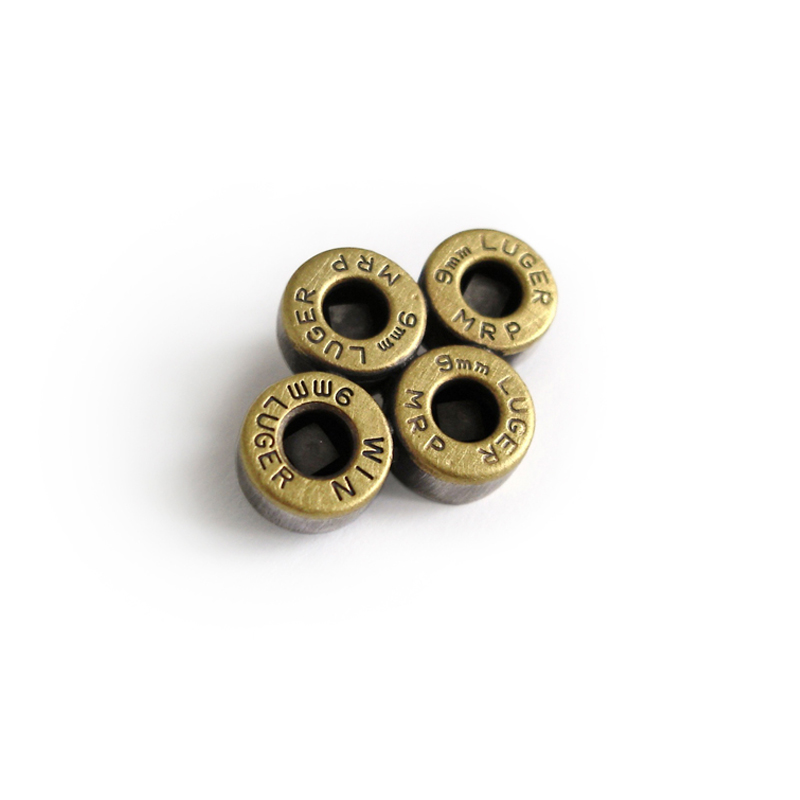 Square Peg in a Round Hole, brooch, sterling silver, luger bullets, 2006