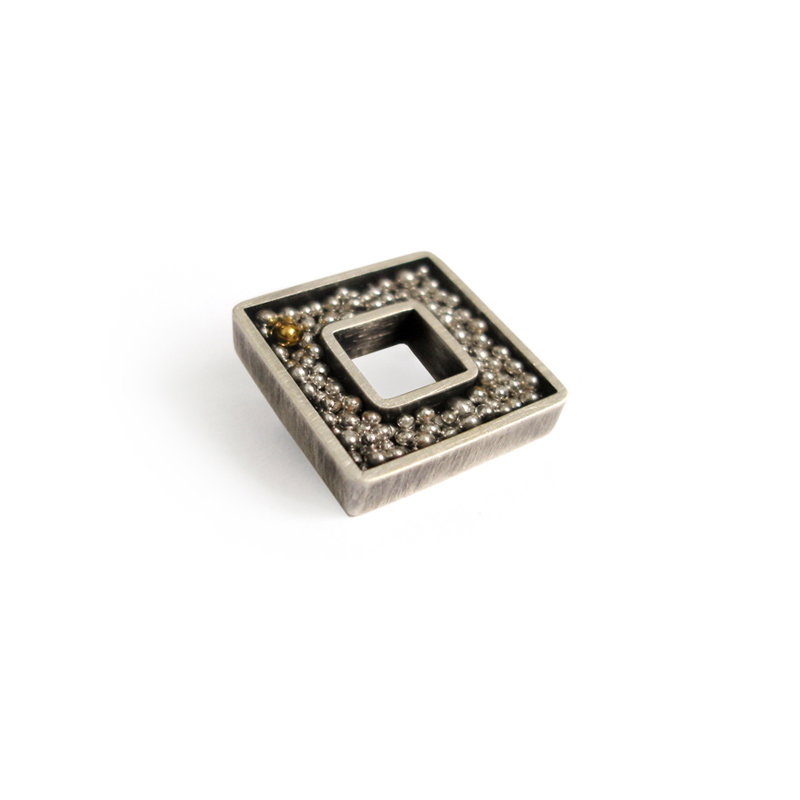 Standing Out in a Crowd, brooch, sterling silver, fine silver, 24ct gold, resin, 2006