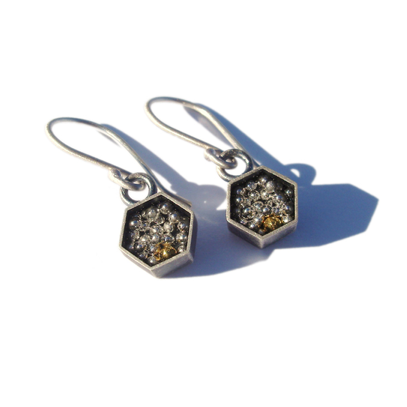 Standing Out in a Crowd, earrings, sterling silver, 24ct gold, resin, 2006