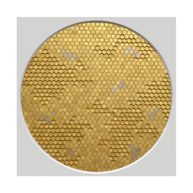 Sacred II (Detail), Cotton board, acrylic, 24ct yellow gold leaf, 23ct red gold leaf, 22ct moon gold leaf, 22.5ct champagne gold leaf, 2015