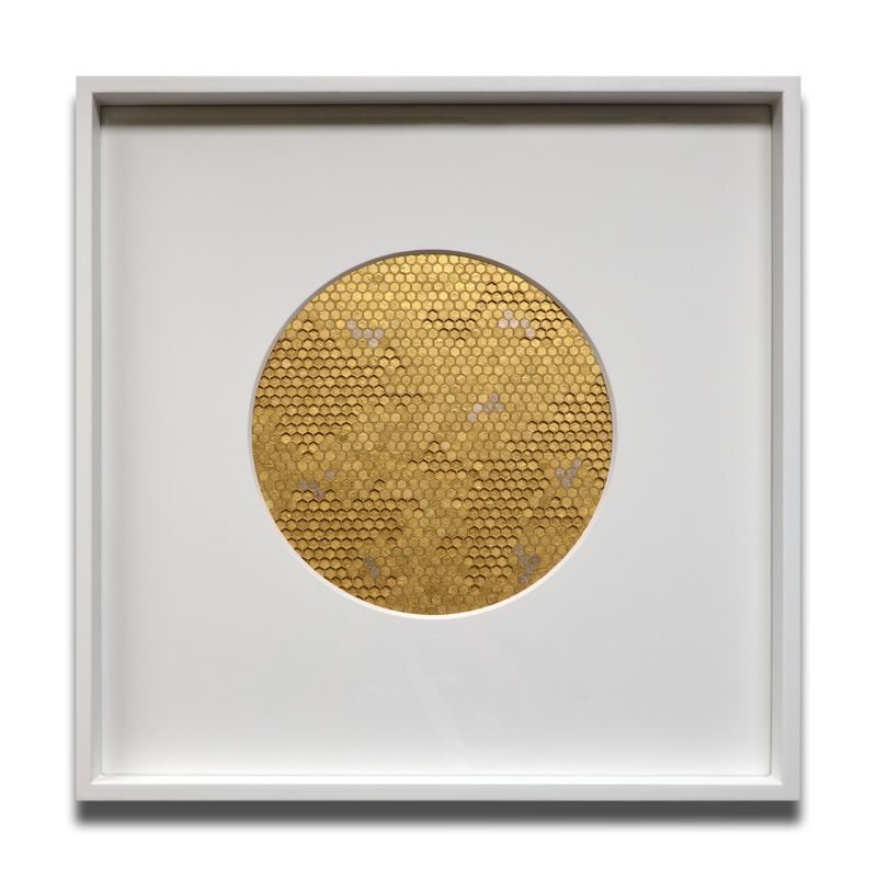 Sacred II, Cotton board, acrylic, 24ct yellow gold leaf, 23ct red gold leaf, 22ct moon gold leaf, 22.5ct champagne gold leaf, 2015