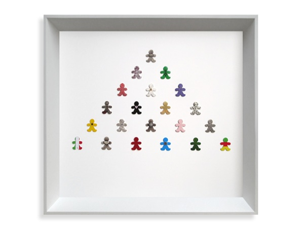 United We Stand. Framed collection. Sterling silver, fine silver, 24ct gold, 18ct gold, 0.05ct diamond, flock, enamel paint, lacquer, wood, vinyl graphics, resin. 2007
