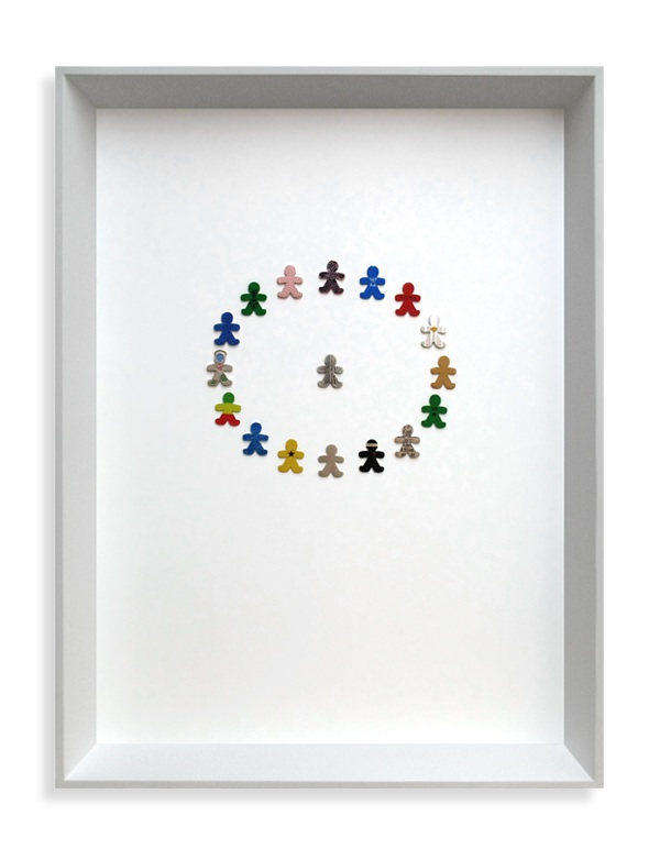 Kindred Spirits, Framed collection, Sterling silver, fine silver, 24ct gold, 18ct gold, resin, enamel paint, lacquer, blue flock, vinyl graphic. 2007