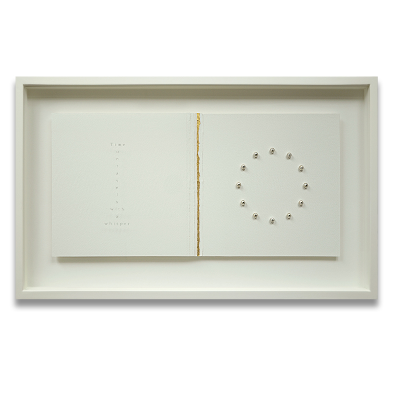 Still-Point. Sandblasted text - Time unravels with a whisper. Sandblasted glass, paper, 24ct gold leaf, sterling silver watch winders, 2.5mm black diamonds, 2.5mm white diamond. Frame size - 767mm wide x 465mm high x 50mm deep. 2014