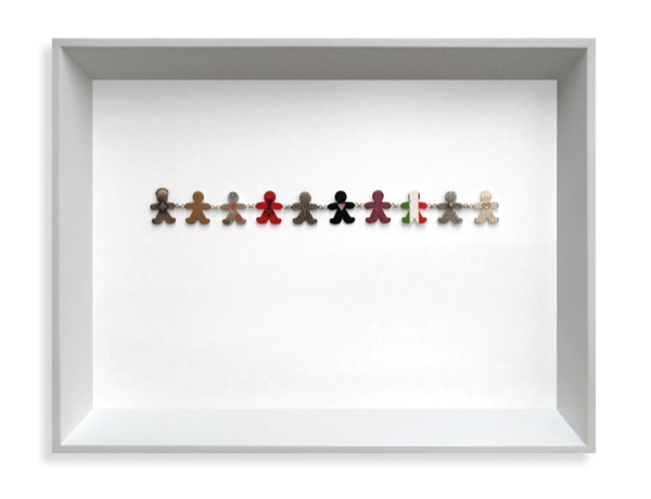 Unity. Framed collection. Sterling silver, fine silver, 24ct gold, 0.05ct diamond, 18ct gold, resin, enamel paint, vinyl graphics, lacquer. 2007