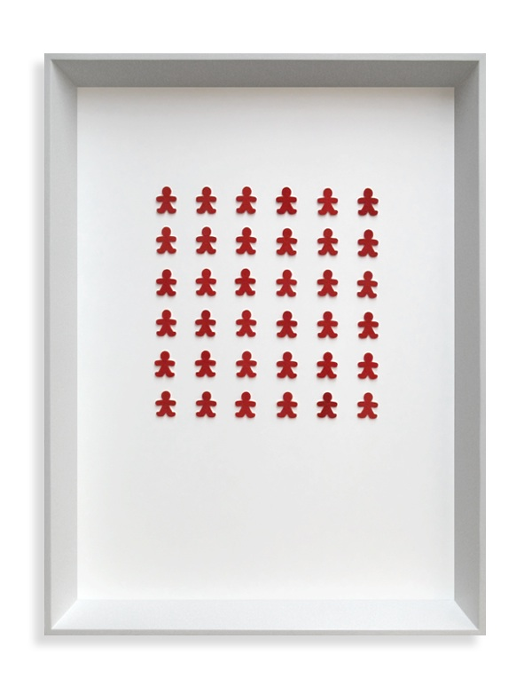 On the Inside . Framed collection. Sterling silver, red flock. 2007