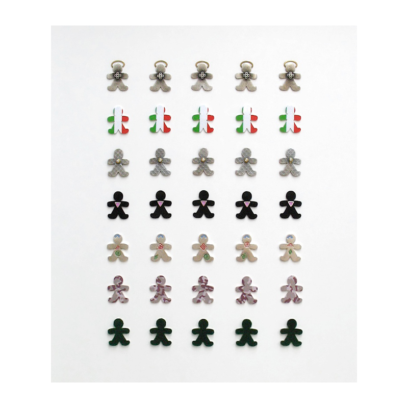 Strength in Numbers. Framed collection. Sterling silver, fine silver, 24ct gold, 18ct gold, 0.05ct diamonds, green flock, lacquer, resin, vinyl graphics. 2007