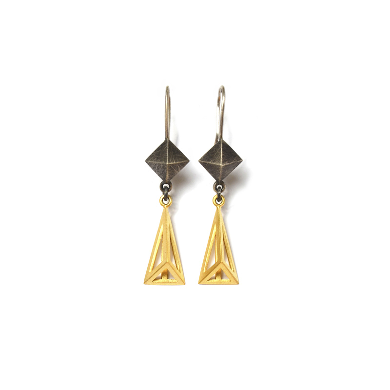 Amplify Earrings, Sterling silver and 24ct gold plate, 2017