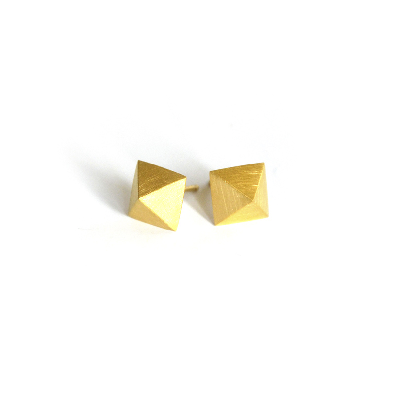 Mirror Studs, Sterling silver and 24ct gold plate, 2017