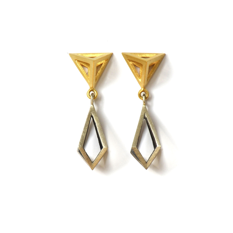Elemental Studs, Sterling silver and 24ct gold plate, 2017