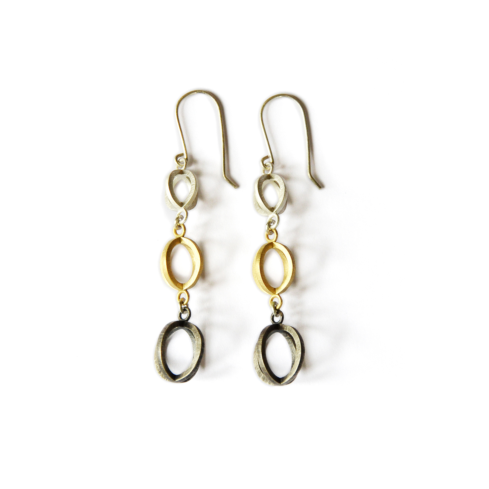 Trinity Earrings, sterling silver, 18ct gold. 2018