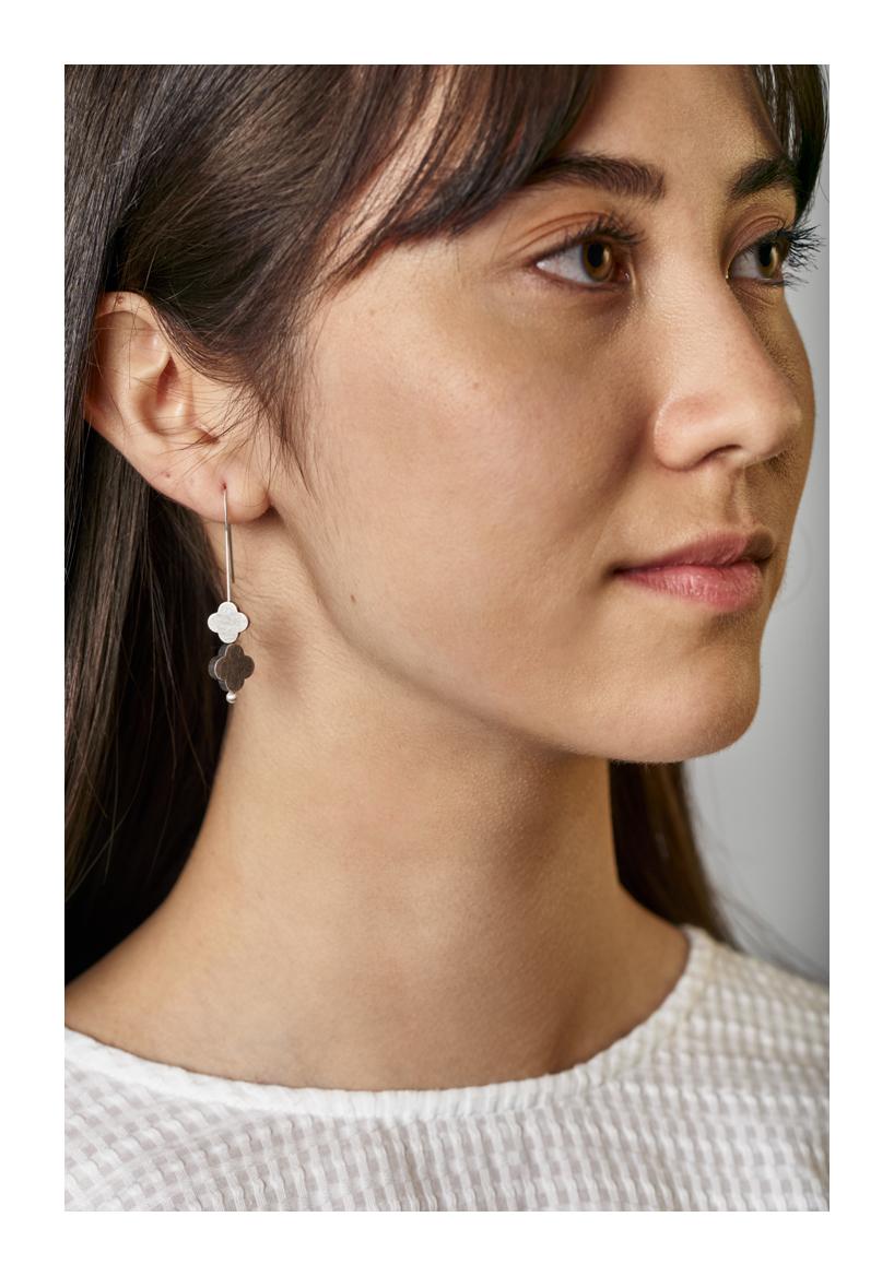 Turning Seasons Earrings, sterling silver, 2020, Kate Alterio